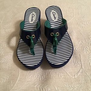"Clark's Navy Sandals with 2 1/2"" Wedge"